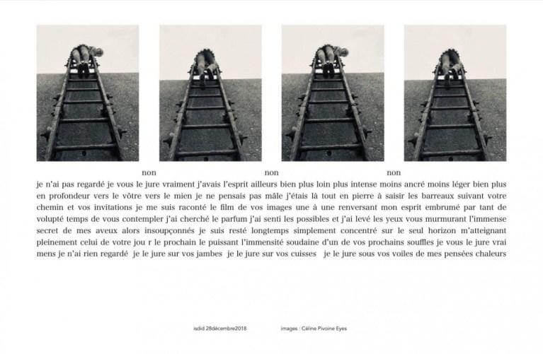 femme de dos en train de monter un escalier à barreau sur un mur