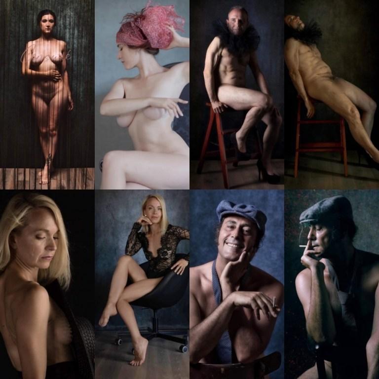 Mosaïque de 8 photos de nus artistiques hommes et femmes