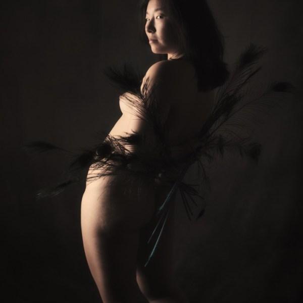 modèle photo asiatique femme en nu artistique de dos en clair obscur avec des plumes de paon sépia